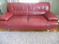 3 Seater Leather Sofa and Foot Stool