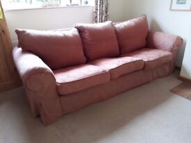 3-Seater Sofa. Collins and Hayes. Red cotton damask washable covers. Removable arms.