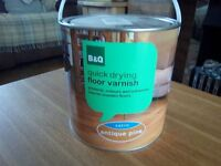 2.5 litre B&Q Antique pine Satin finish floor varnish - New.