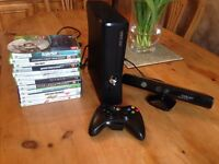 XBox 360 slim with Kinect, controller and games bundle