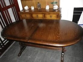 ***** EXTENDING PRIORY OAK DINING TABLE WITH 6 CHAIRS (including 2 carvers) ****