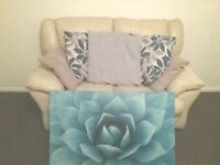 2 seater sofa, arm chair, scatter cushions and matching large canvas