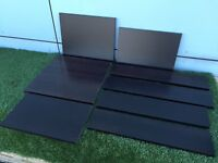 8 x sections of black MDF wood shelving left over from a project, home DIY