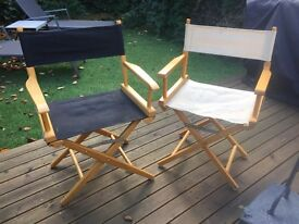 4 x Folding Directors Chairs - black + beige