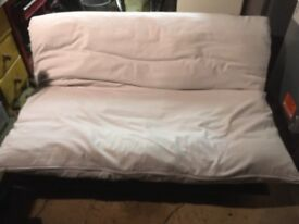 Futon sofabed White on ebony base great quality and good clean condition