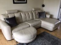 Leather Sofa Suite (includes double sofa bed) + Footstool