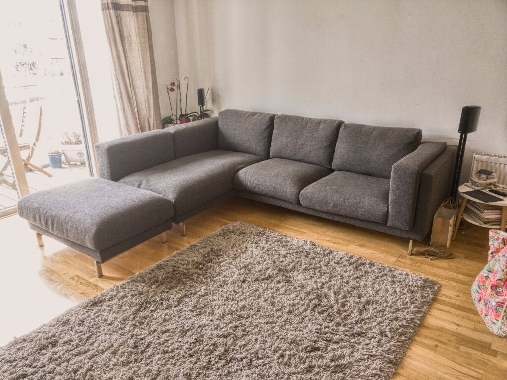 Ikea nockeby grey fabric corner sofa chaise and footstool for Ikea corner sofa