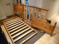 Solid pine single bed frame with pull out trundle/guest bed