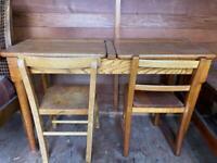 Antique original child's wooden school desk