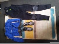 kayak equipment - Palm wetsuit, boots and jackey