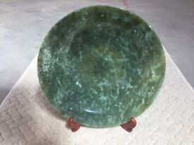Jade Plate and Stand (Cantonese) Exquisite and unblemished.