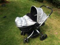 Mothercare Spin pushchair & Pram; Britax car seat & base; connectors for car seat; buggy board