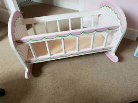 Toy wooden cradle