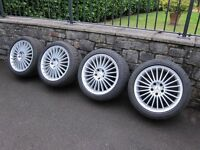 "MERCEDES-BENZ SL GENUINE 18"" AMG V 22-SPOKE ALLOY WHEELS WITH CONTINENTAL TYRES"