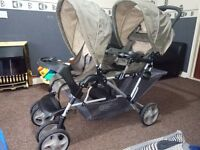 Graco double twin pushchair pram, footmufff and rain cover
