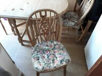 Ducal oval pine drop leaf table and 4 chairs