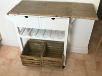 Shabby chic kitchen storage trolley with drawers and bottle rack