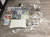 Wii bundle large job lot Fit Board 15 games 3 controllers 3 steering wheels and accessories