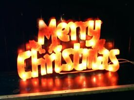 MERRY CHRISTMAS LIGHT DECORATION FOR WINDOW, WALL. VERY BRIGHT INTERNAL LIGHTS. 50CMW 27CMD.