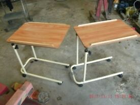 SMALL WHEELY HEIGHT ADJUSTABLE TABLES SIMILAR TO HOSPITAL SPEC