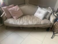 Beautiful grey / silver chaise style sofa