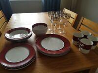 Dinner Set x 4 plus 4 wine glasses