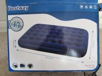 Blow up double mattress used once, cover soft flock for comfort