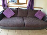 Brown large sofa snd snuggle sofa