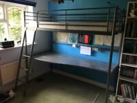 IKEA Loft bed frame with desk top