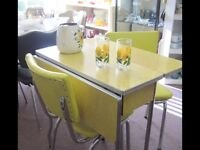 Yellow Formica Table with Drop Leaf