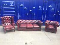 CHESTERFIELD 3 piece suite - sofa club chair Wingback Queen Anne genuine antique leather oxblood