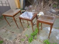 nest of 3 wooden tables with glass tops