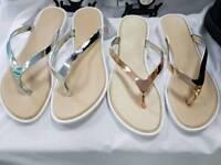 Ladies metallic flip flops, new