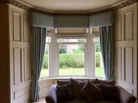 Duck egg & silver high quality, fully lined silk dupion curtains 3.05m drop, 5.2m w
