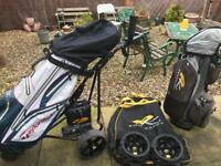 GOLF TROLLEY 18 HOLES ,2 x GOLF BAGS