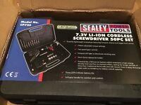 Sealey CP72S Cordless Screwdriver 7.2V li-ion including 50 Piece Accessory Set - New Sealed