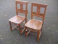 Great Pair Of Elm & Beech Chapel Church Chairs