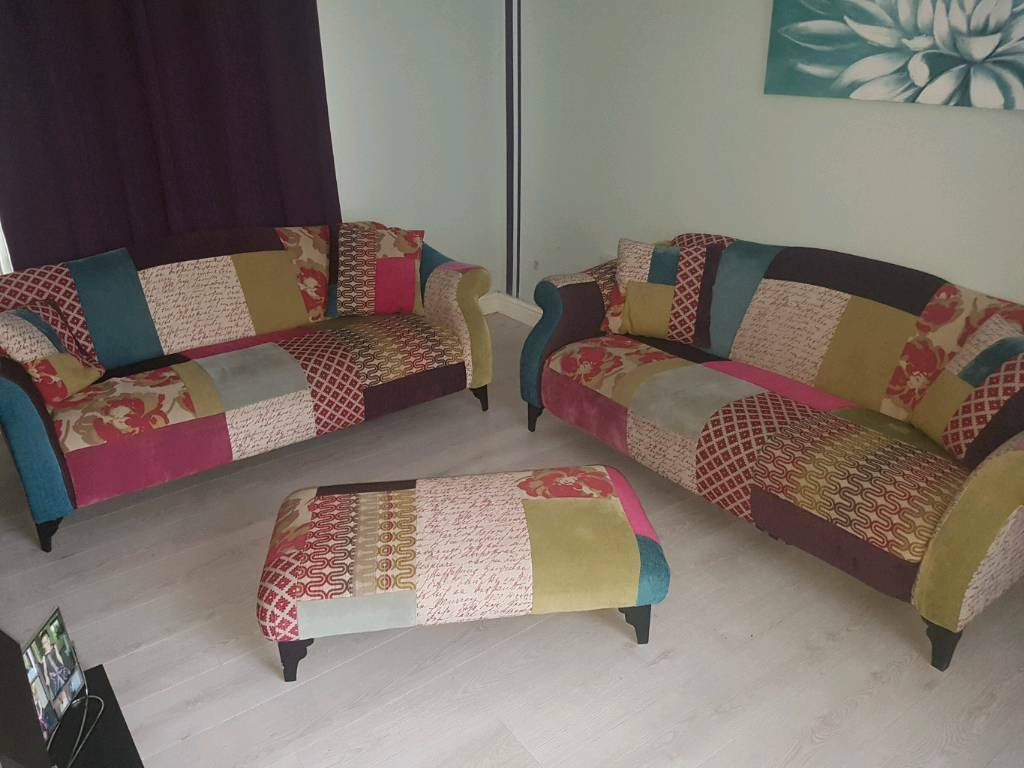 Dfs 3 Seater Shout Patchwork Sofa In Burton On Trent