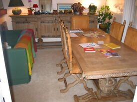 Large dining table and sideboard, oak, Spanish renaissance from chateau Paris area
