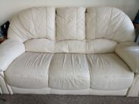 White leather 3 seater sofa and armchair: free to collect