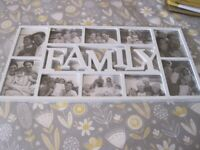 large hanging photo frame/picture - FAMILY - white