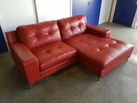 DOMAIN CHAISE END CORNER LEATHER SOFA / SETTEE / SUITE IN ENZO CHROME LEGS RED DELIVERY AVAILABLE