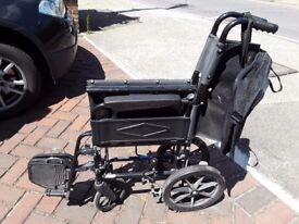 Folding Remploy NSV ranger wheelchair together with 2 comfort cushions