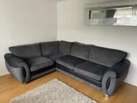 Right Corner & 2 Seater Charcoal/Black Formal Back Sofas