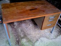 strong wooden office desk, with 3 drawers