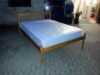solid pine double bed frame with 9 inch thick myers mattress