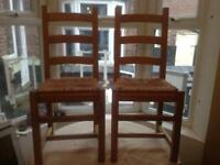 Ladderback Rush Seats Oak Dining Chairs.