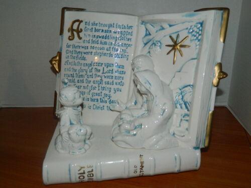 Ceramic Music Box Christmas Holy Bible Sankyo Jesus Birth Christian Nativity