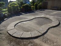 Paving slabs previously used as surround for garden pound. 24 slabs (one broken)