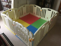LARGE Baby Playpen with gate. 8 Panels Including Fun Activity Panel 155cmx155cm .5months old.